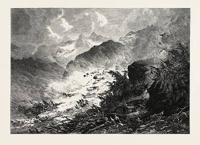 Vale Drawing - Avalanche, Maderaner Thal, Maderaner Valley by Swiss School