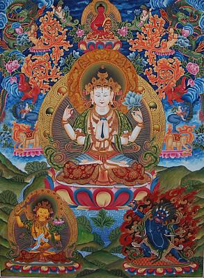 Vajrayana Painting - Avalokitesvara The Great Compassionate One by Art School