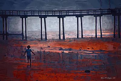 Nj Mixed Media - Avalon Pier And Child  by Richard Worthington