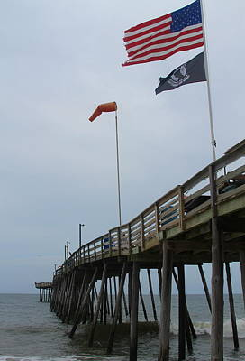 Avalon Pier And Flags Art Print by Cathy Lindsey