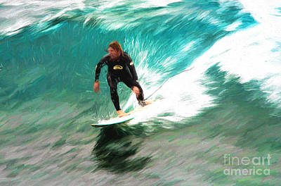 Surf Lifestyle Digital Art - Avalono Surfer by Avalon Fine Art Photography