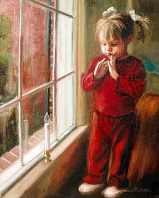 Painting - Ava's Christmas Light by Erin Rickelton