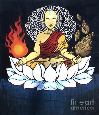 Avatar Aang Buddha Pose Art Print by Jin Kai