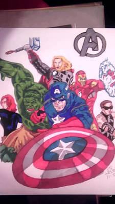 Hawkeye Drawing - Avengers Assemble by Edward Settles