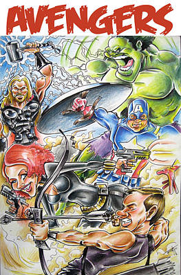 Thor Drawing - Avengers by Big Mike Roate