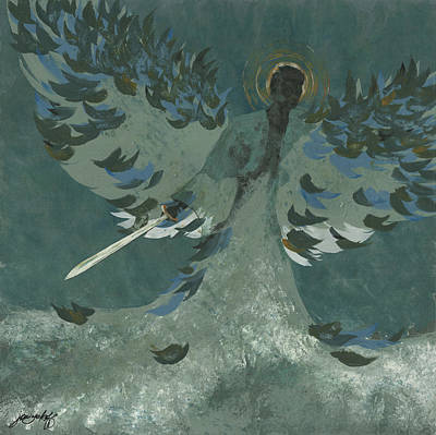 Angel Blues Painting - Avenging Angel by John Wyckoff