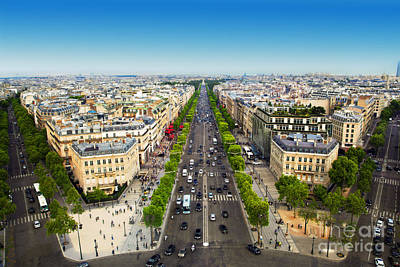 Traffic Photograph - Avenue Des Champs Elysees In Paris France by Michal Bednarek