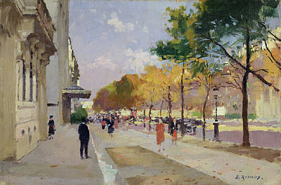 European Street Scene Painting - Avenue Montaigne, Paris  by Jules Ernest Renoux