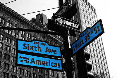 Street Signs Photograph - Avenue Of The Americas by John Rizzuto