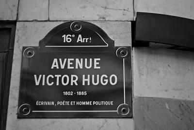 Avenue Victor Hugo Paris Road Sign Art Print by Georgia Fowler