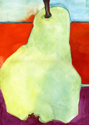 Pear Watercolor Painting - Avery Style Pear Art by Blenda Studio