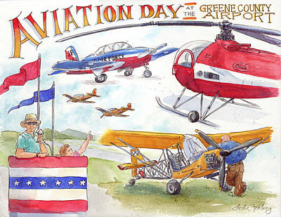 Helicopter Painting - Aviation Day by Leslie Fehling