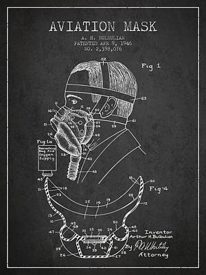 Oxygen Wall Art - Digital Art - Aviation Mask Patent From 1946 - Charcoal by Aged Pixel