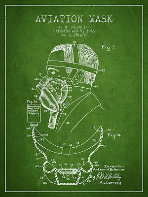 Aviation Mask Patent From 1946 - Green Art Print by Aged Pixel