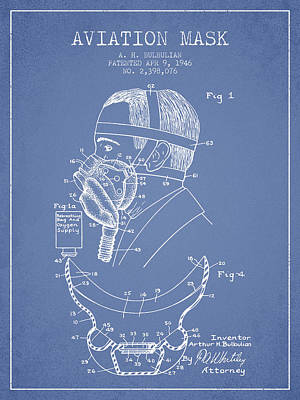 Oxygen Wall Art - Digital Art - Aviation Mask Patent From 1946 - Light Blue by Aged Pixel
