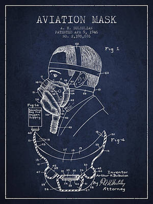 Oxygen Wall Art - Digital Art - Aviation Mask Patent From 1946 - Navy Blue by Aged Pixel