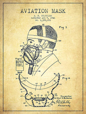 Aviation Mask Patent From 1946 - Vintage Art Print by Aged Pixel