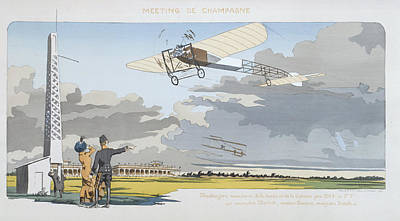 Plane Painting - Aviation Meeting At Champagne by Marguerite Montaut