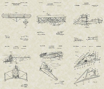 Flyers Art Drawing - Aviation Patent Collection by PatentsAsArt