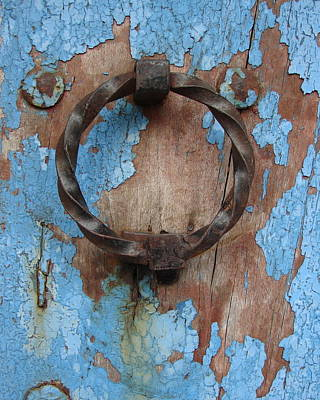 Photograph - Avignon Door Knocker On Blue by Ramona Johnston