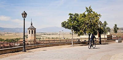 Photograph - Avila Spain Overlook With Bicycle by Angela Bonilla
