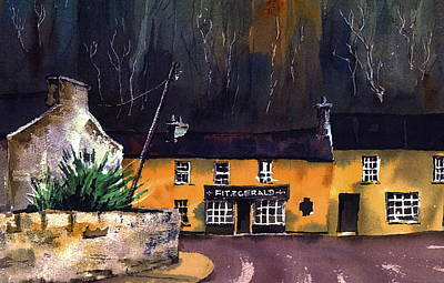 Avoca Mixed Media - Avoca Fitzgeralds Pub by Val Byrne