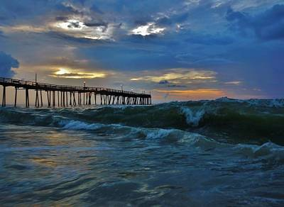 Avon Pier Sunrise Storm Wave 6/12/2014 Art Print