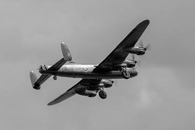 Photograph - Avro Lancaster Pa474 Taking Off  Black And White Version by Gary Eason