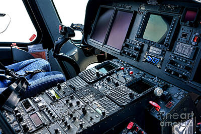 Helicopter Wall Art - Photograph - Aw139 Cockpit by Olivier Le Queinec