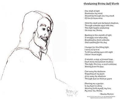 Smiling Jesus Drawing - Awakening Divine Self Worth Sketch Of Jesus 2 by Dawna Morton