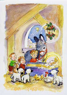 Manger Drawing - Away In A Manger by Diane Matthes