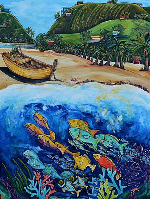 Fish Underwater Painting - Away With The Fishes by Patti Schermerhorn