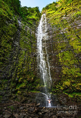 Awe - The Spectacular And Large Waimoku Falls In Maui. Art Print by Jamie Pham