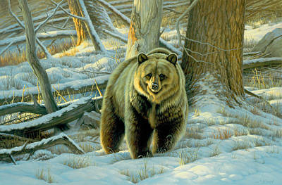 Grizzly Bear Painting - Awesome Encounter by Paul Krapf
