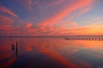 Photograph - Awesome Fiery Red Clouds At Dusk Reflected On Dead Calm Santa Rosa Sound by Jeff at JSJ Photography