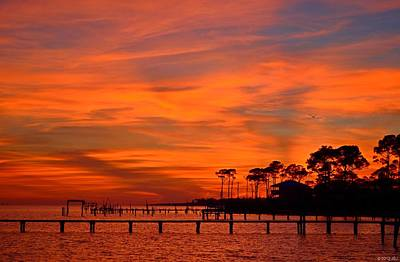 Photograph - Awesome Fiery Sunset On Sound With Cirrus Clouds And Pines by Jeff at JSJ Photography
