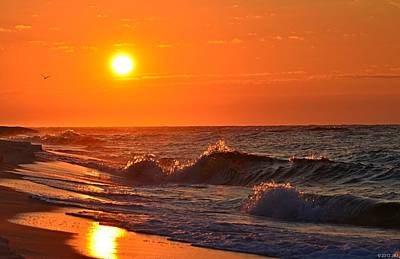 Photograph - Awesome Red Sunrise Colors On Navarre Beach With Shore Waves by Jeff at JSJ Photography