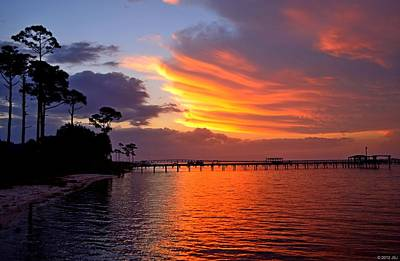 Photograph - Awesome Sunrise Thunderstorm Colors On Santa Rosa Sound by Jeff at JSJ Photography