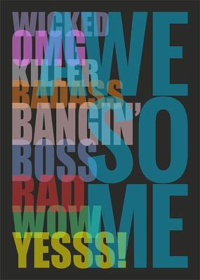 Hanger Digital Art - Awesome - Typography Poster by Helena Kay