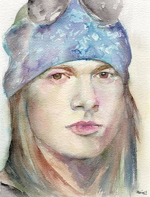 Robert Plant Framed Painting - Axl Rose by Marina Sotiriou