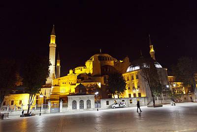 Aya Sophia In Istanbul Turkey At Night Print by Raimond Klavins