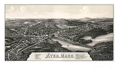 Old Map Painting - Ayer - Massachusetts - 1886 by Pablo Romero