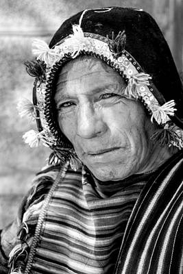 Photograph - Aymara Man Portraits Black And White by For Ninety One Days