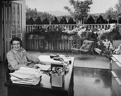 50s Photograph - Ayn Rand At Her Desk by Julius Shulman