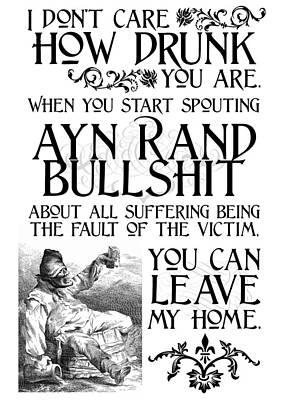 Ayn Rand Wall Art - Digital Art - Ayn Rand Bullshit by Kate Morrigan