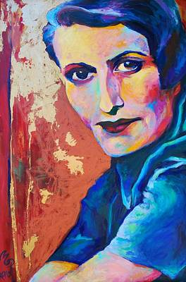 Ayn Rand Wall Art - Painting - Ayn Rand by Melanie Pearson