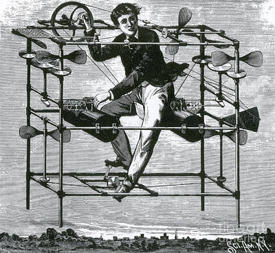 Photograph - Ayres New Aerial Machine, 1885 by Science Source