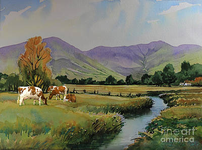 Ayrshire Cattle In Langdale Art Print by Anthony Forster
