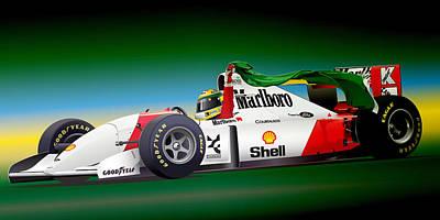 Honda Digital Art - Ayrton Senna Art by Alain Jamar