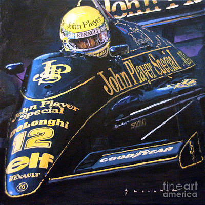 Racing Painting - Ayrton Senna Lotus 98t1986 01 by Yuriy Shevchuk